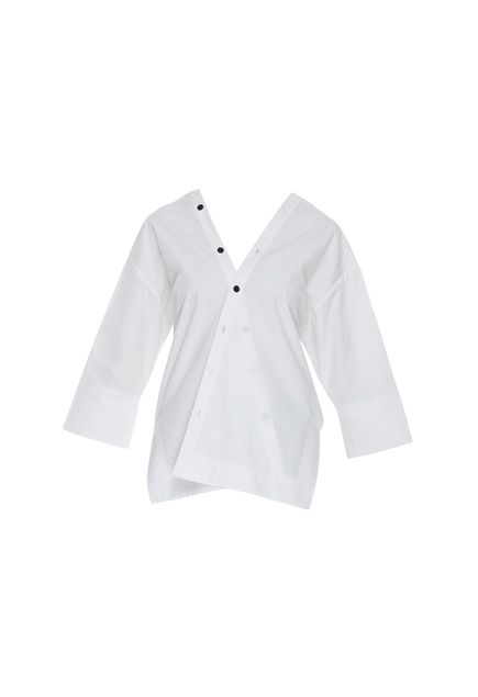 Wrap style shirt with button closure