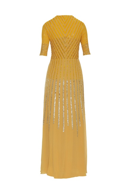 Sequin embroidered floor length gown