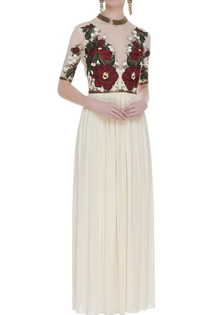 Floral motif gown with sheer neckline