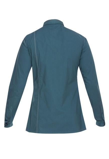 Blue cotton shirt with topstitch details
