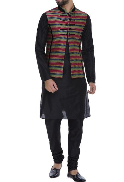 Stripe pattern nehru jacket