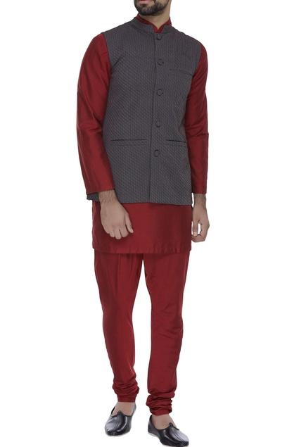 Criss-cross textured waistcoat