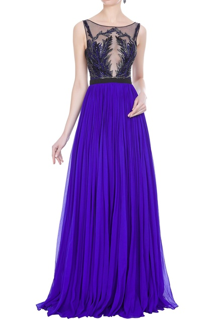 Pleated gown with hand embroideredbodice