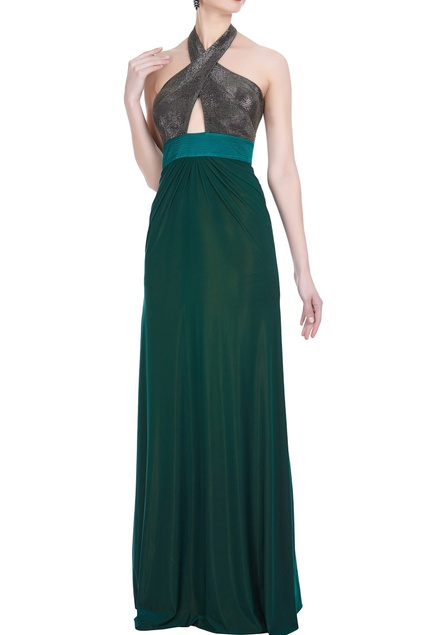 Cross-neck stretch hand embroidered gown