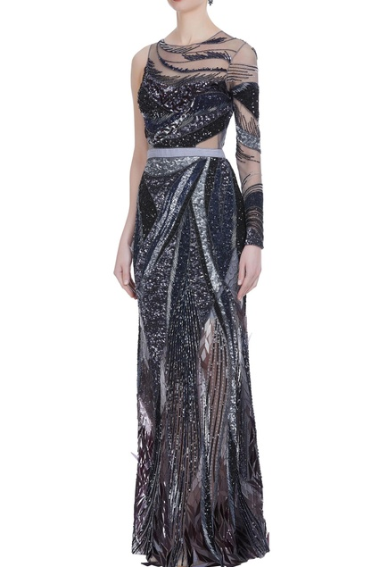 Hand embroidered acrylic gown