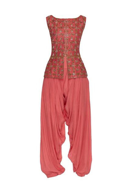Embroidered peplum top with dhoti pants