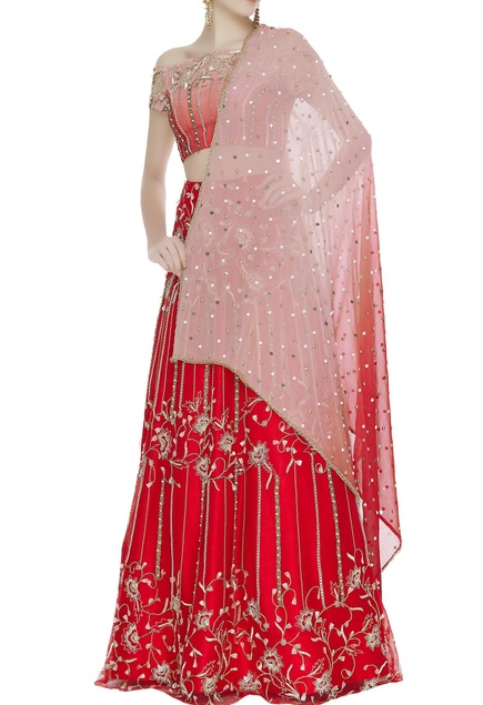 Raw silk zari & pearl embroidered lehenga set