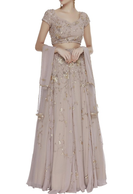 Sequin floral embroidered lehenga set