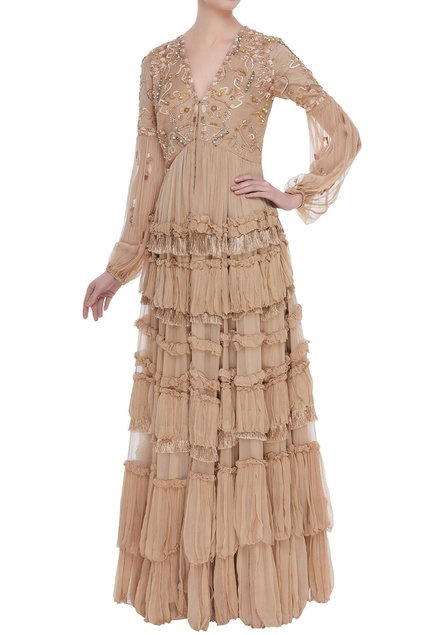 Fringe tiered embroidered gown