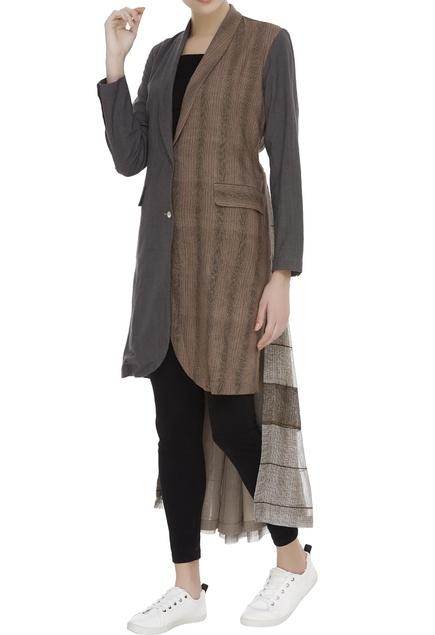 Khadi & kota silk single breasted blazer