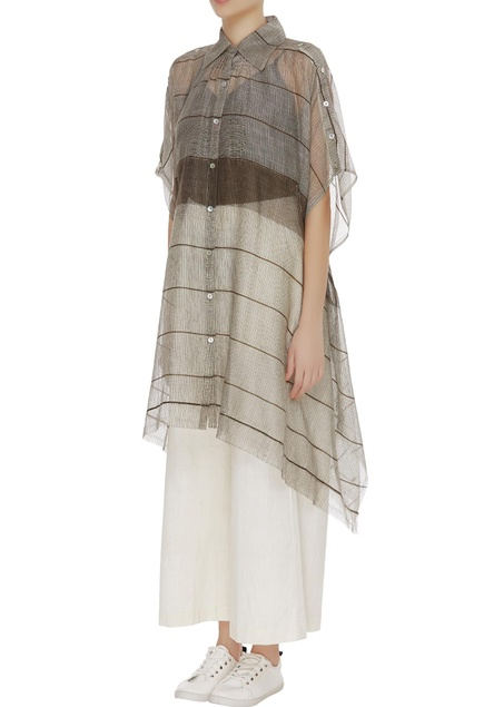 Kota silk stripe sheer tunic