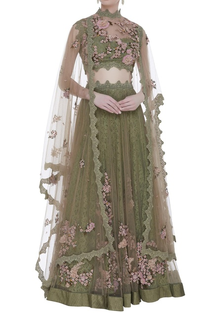 Hand embroidered lehenga set