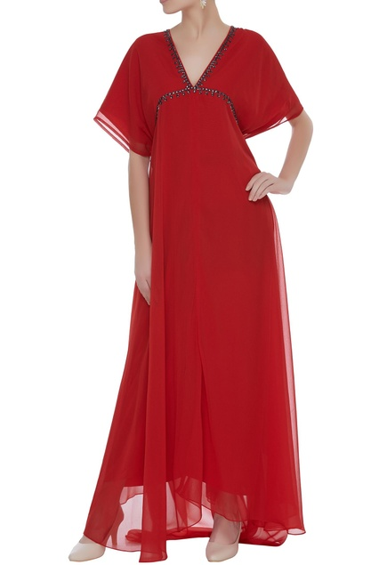 Layered gown with embellished neck
