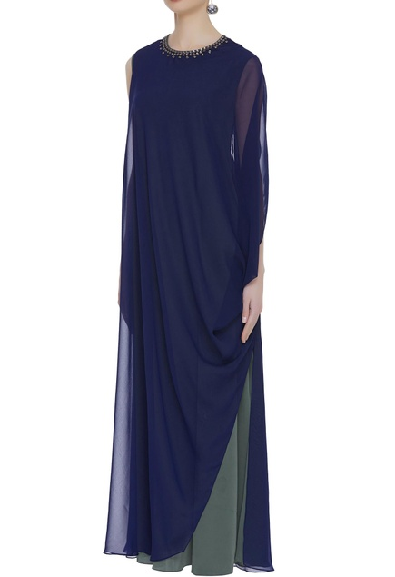 Draped gown with embellished neckline