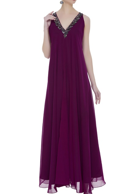 Asymmetric gown with embellished neckline