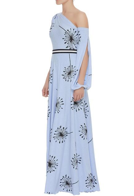 Block print full length gown