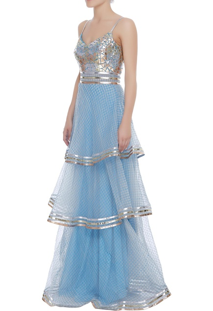 Tiered gown with metallic cutwork embroidery