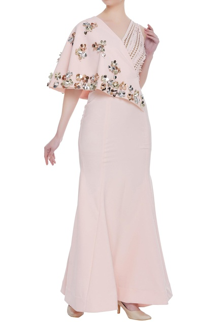 Asymmetric cape sleeves gown