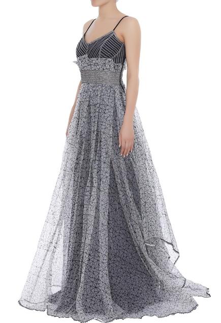 Block print gown with asymmetric hemline