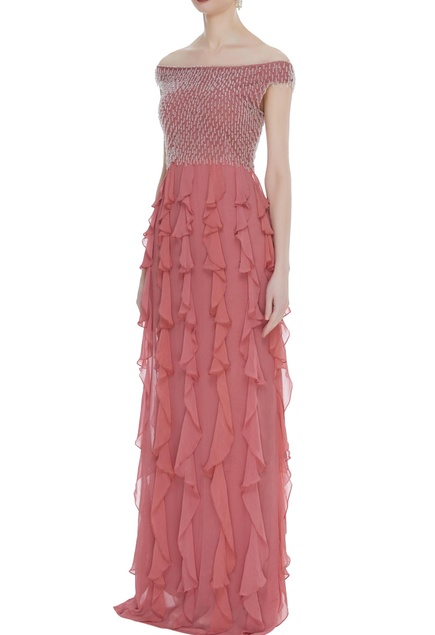 Embroidered frill detail gown