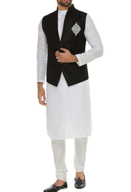 High neck jacket with zardozi patchwork
