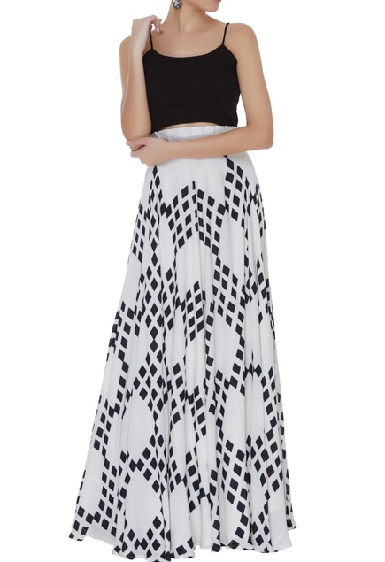 Hand block printed skirt with camisole