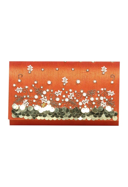 Zardozi & pearl hand embroidered clutch