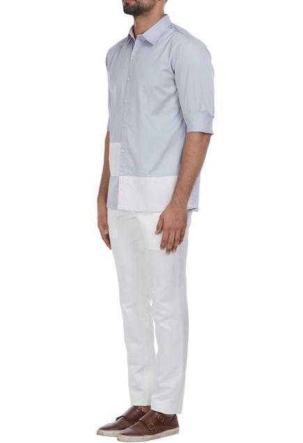 Button down color block shirt