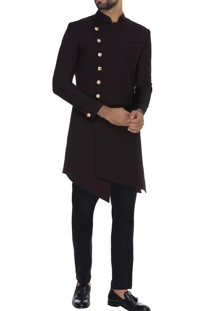 Asymmetric sherwani with straight pants