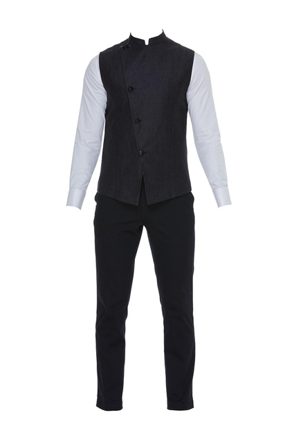 Cotton shirt & trousers paired with silk waistcoat