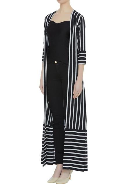 Stripe pattern crepe silk front open jacket