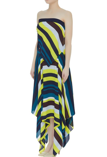 Multicolored asymmetric skirt with tube blouse