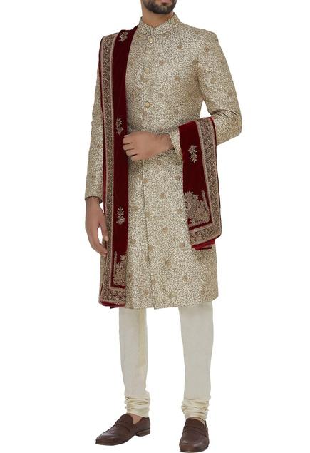 Silk sherwani set with velvet stole