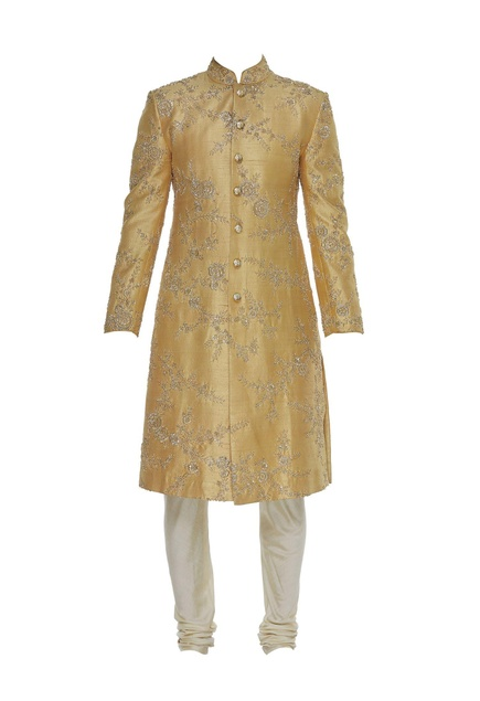 Embroidered sherwani with velvet stole