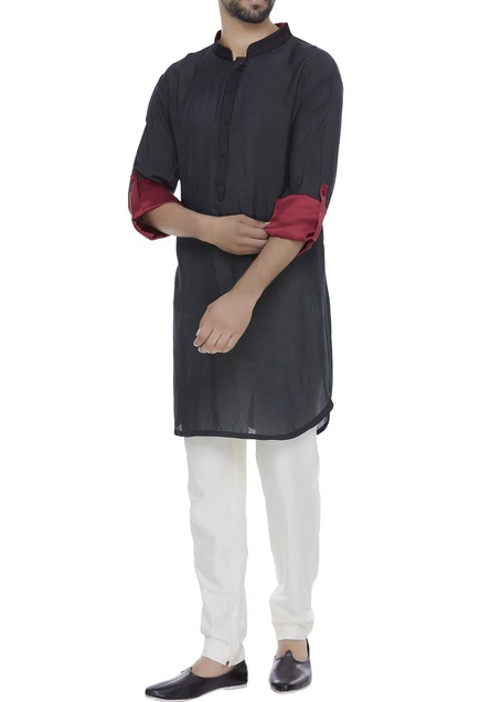 Nehru collar kurta with roll up sleeves