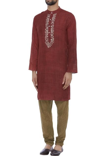 Organic silk hand thread embroidered kurta