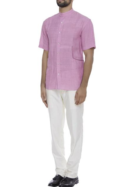 Mandarin collar button down shirt