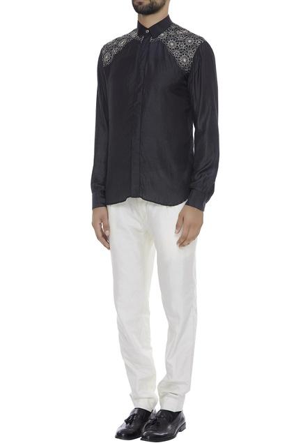 Organic silk collar shirt with embroidery