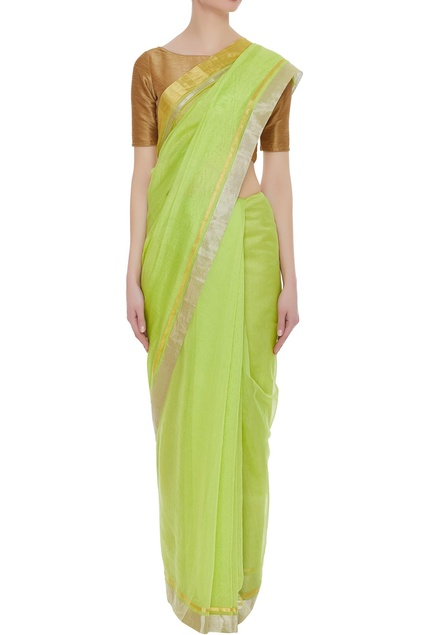 Pure chanderi sari with zari work & unstitched blouse