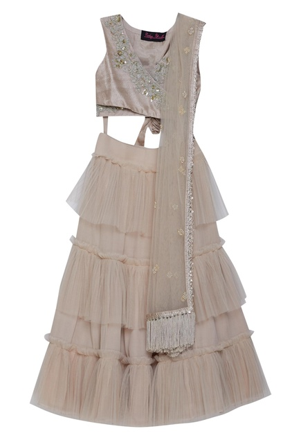 Tiered lehenga with criss cross blouse and dupatta