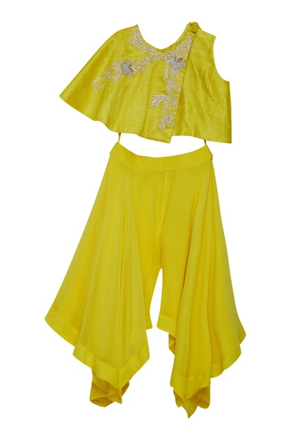 Embroidered tie up top with flared pants