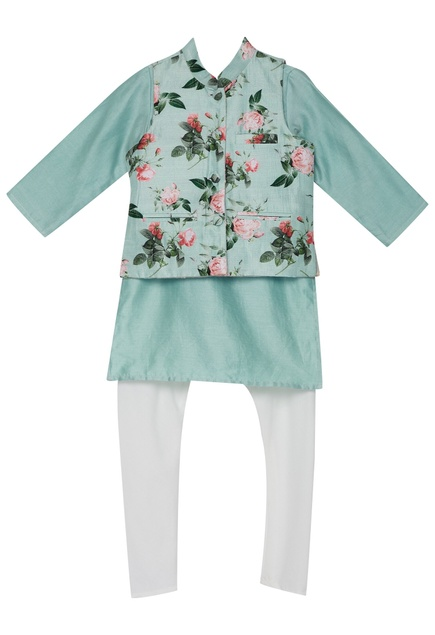 Rose print jacket with chanderi kurta set