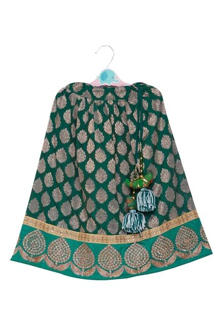 Brocade lehenga with sleeveless blouse and dupatta