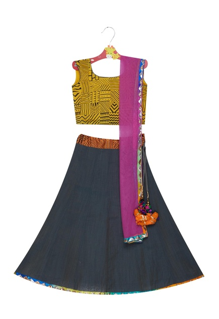 Printed blouse with lehenga & dupatta