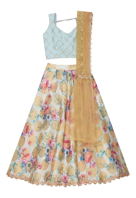 Brocade lehenga with embroidered blouse and dupatta