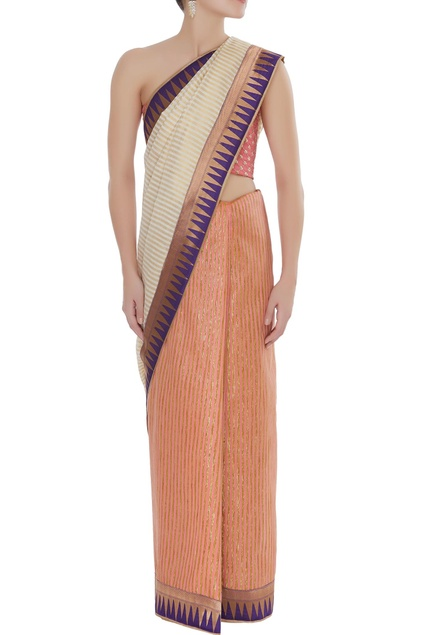 Chanderi sari with unstitched blouse fabric