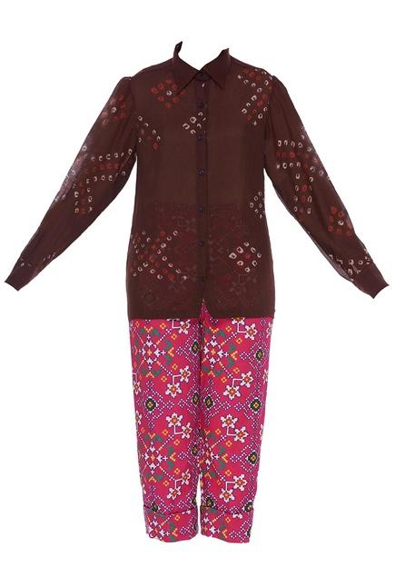 Printed puffed sleeve shirt with pants & jacket