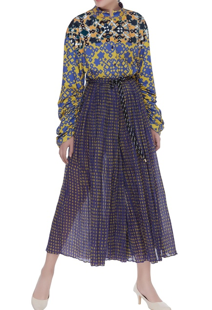 Poplin printed shirt with skirt