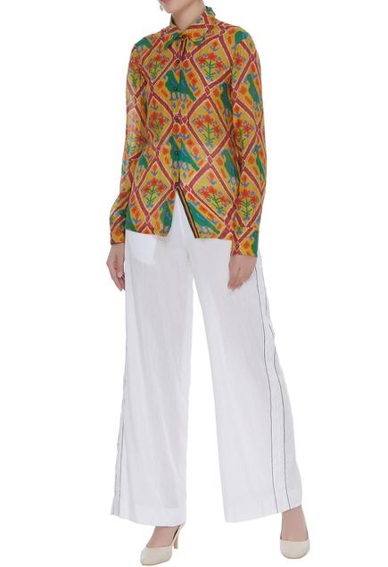 Parrot printed cotton silk shirt