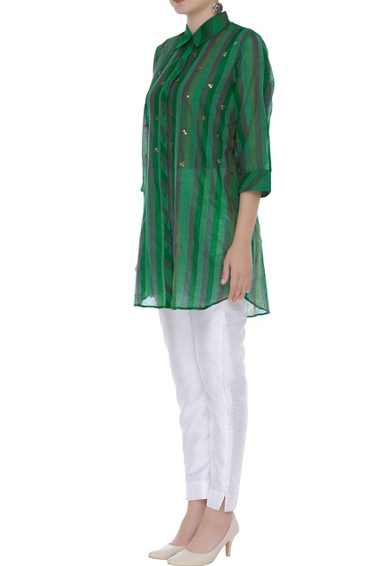 Striped shirt with sequin embroidery